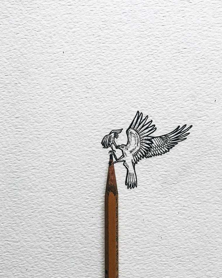 Ilustraciones de pequeños tamaños que sorprenden a lo grande águila