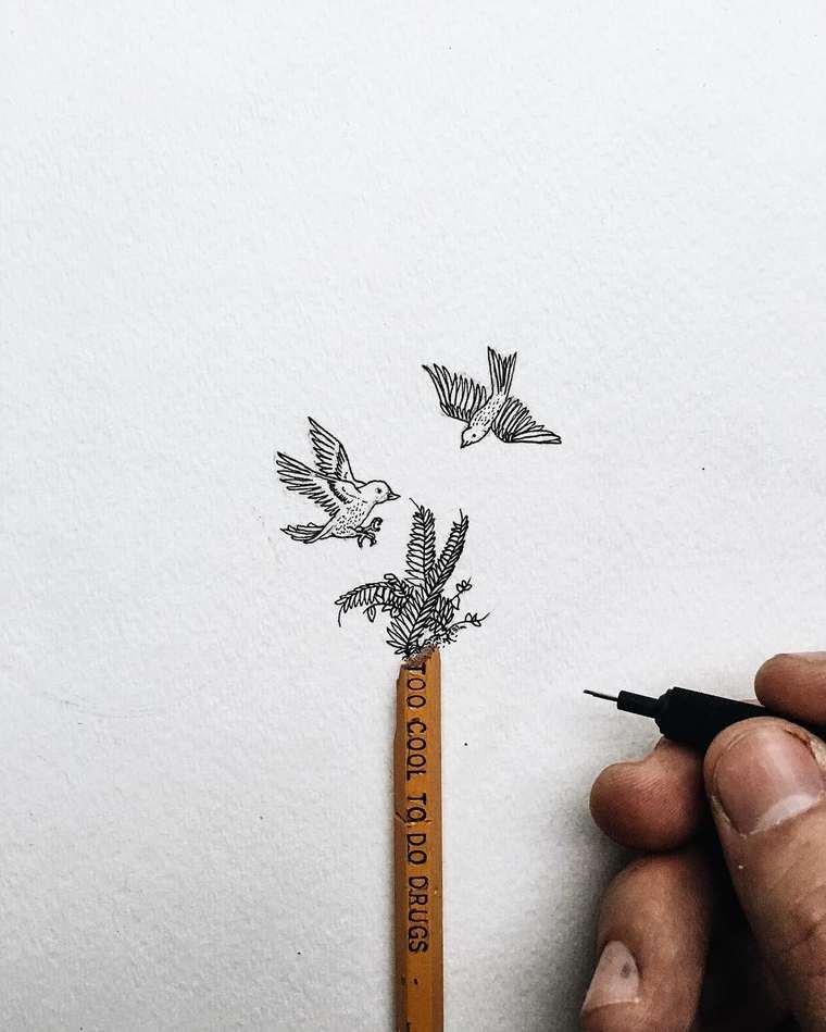Ilustraciones de pequeños tamaños que sorprenden a lo grande aves