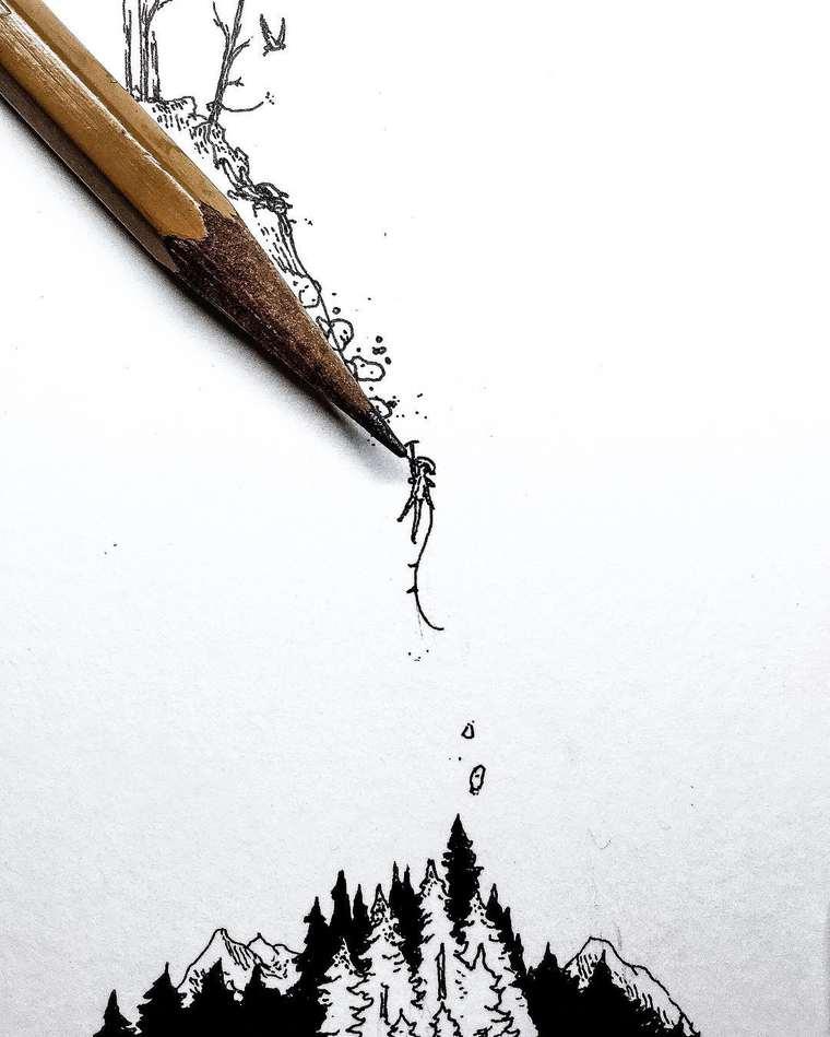 Ilustraciones de pequeños tamaños que sorprenden a lo grande caída