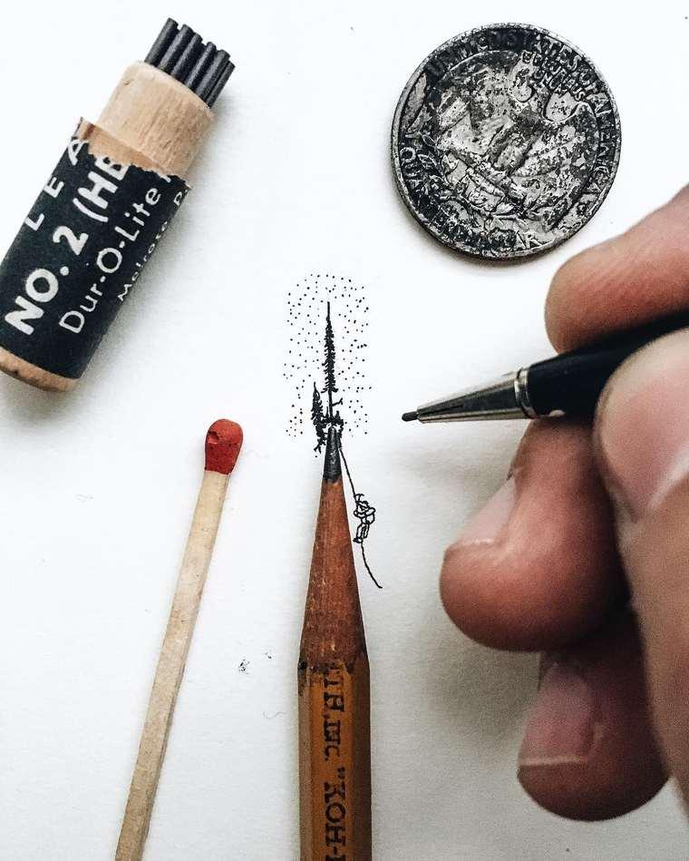 Ilustraciones de pequeños tamaños que sorprenden a lo grande escalando