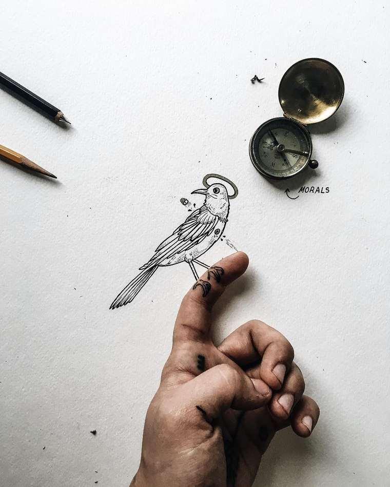 Ilustraciones de pequeños tamaños que sorprenden a lo grande gorrión
