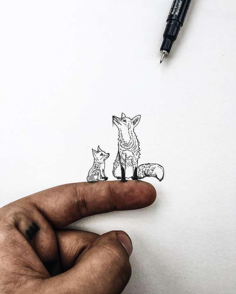 Ilustraciones de pequeños tamaños que sorprenden a lo grande lobos