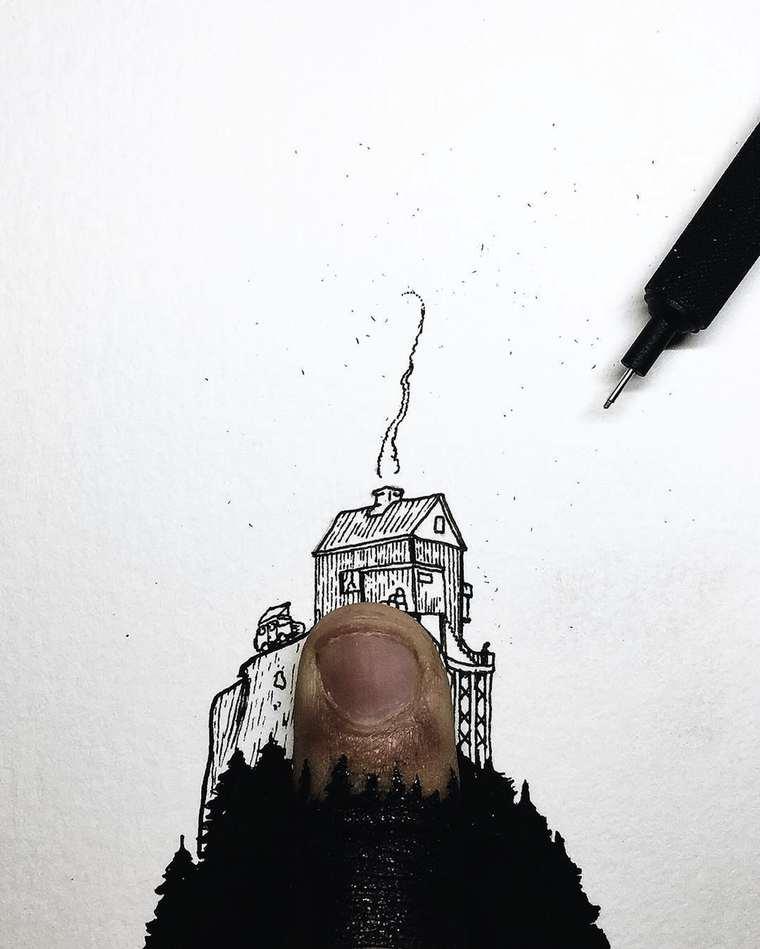 Ilustraciones de pequeños tamaños que sorprenden a lo grande mansión