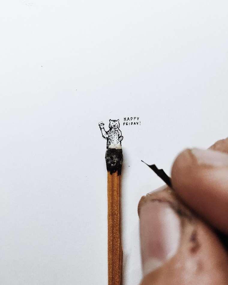 Ilustraciones de pequeños tamaños que sorprenden a lo grande oso