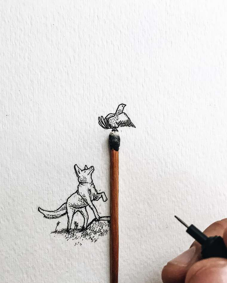 Ilustraciones de pequeños tamaños que sorprenden a lo grande pájaro