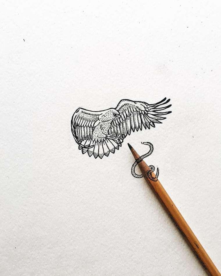 Ilustraciones de pequeños tamaños que sorprenden a lo grande serpiente