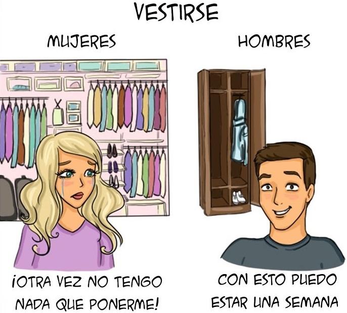 Ilustraciones que explican algunas diferencias entre hombres y mujeres d