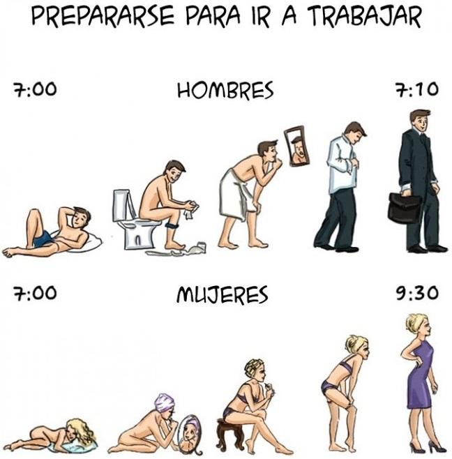 Ilustraciones que explican algunas diferencias entre hombres y mujeres e
