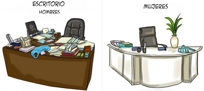 Ilustraciones que explican algunas diferencias entre hombres y mujeres h