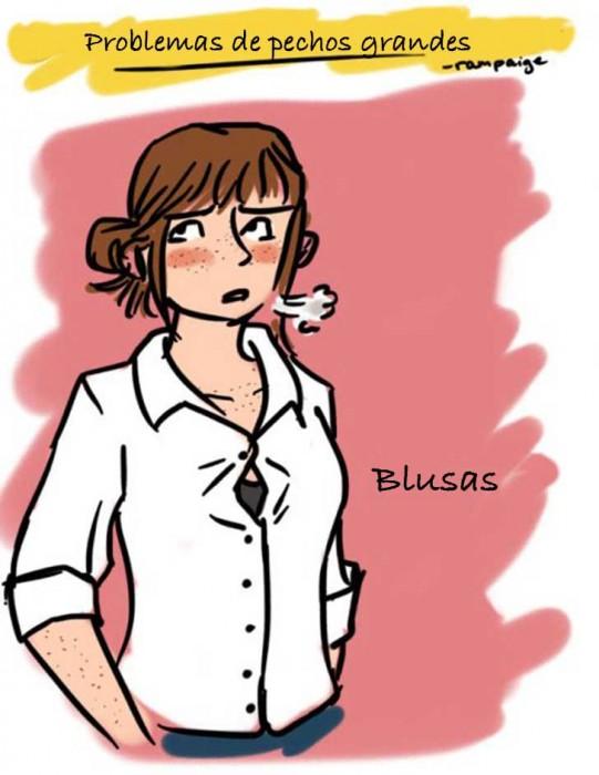 Ilustraciones que sólo las mujeres con pechos grandes entenderán blusa