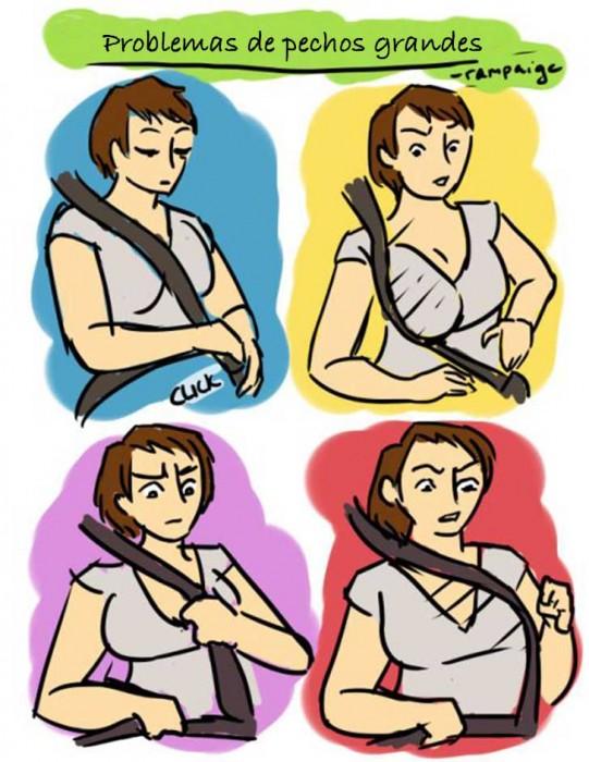 Ilustraciones que sólo las mujeres con pechos grandes entenderán cinturón