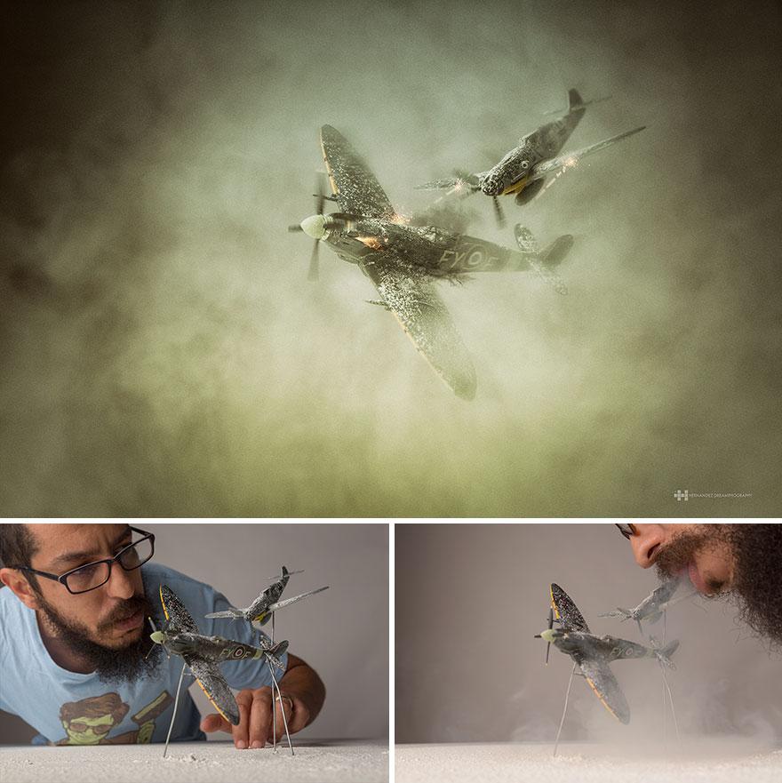Imágenes de pequeños juguetes en grandes escenarios avión
