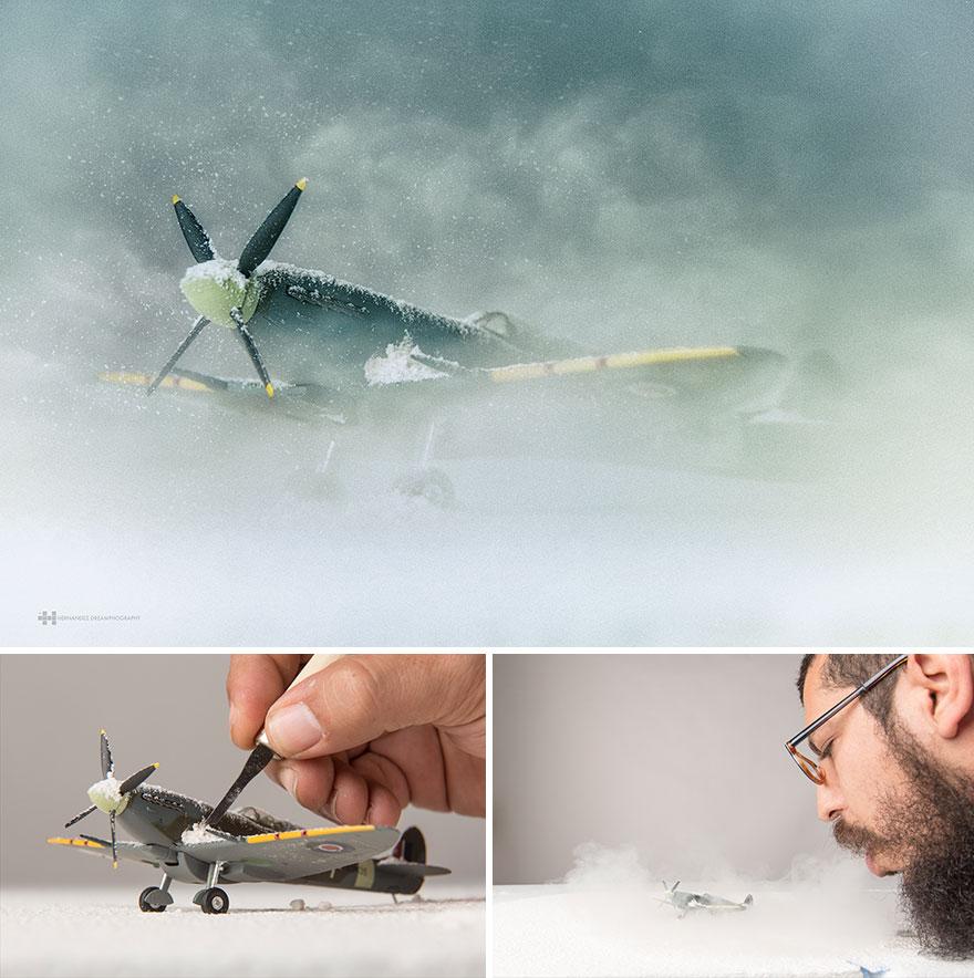 Imágenes de pequeños juguetes en grandes escenarios avioneta