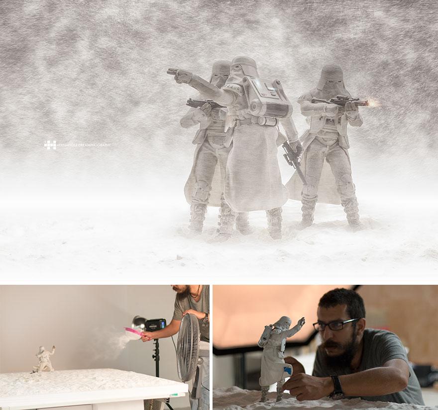 Imágenes de pequeños juguetes en grandes escenarios snow troopers