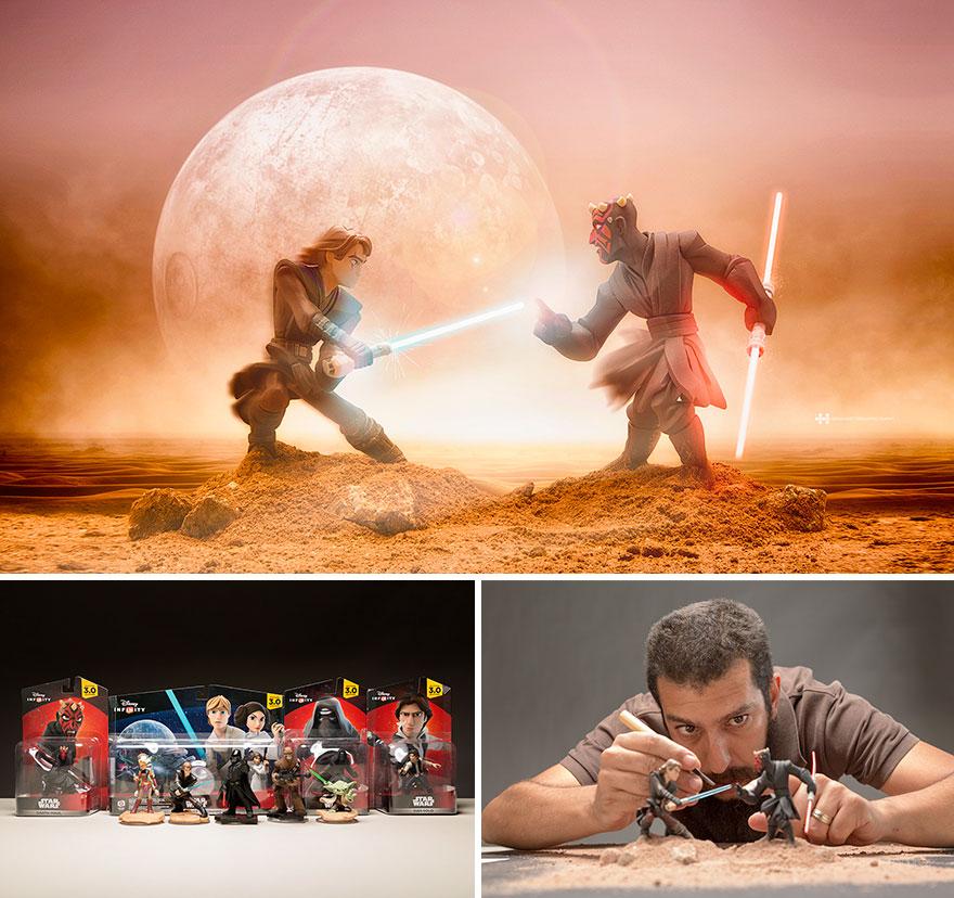 Imágenes de pequeños juguetes en grandes escenarios star wars