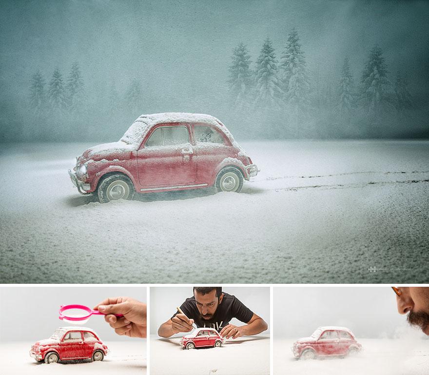 Imágenes de pequeños juguetes en grandes escenarios volkswagen