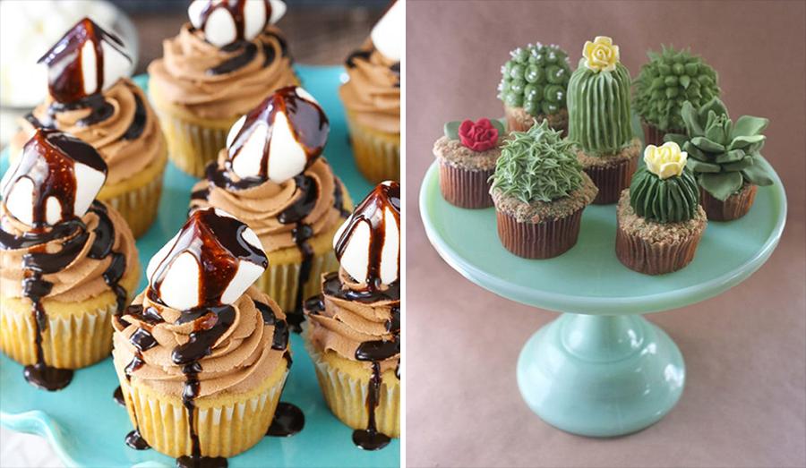 15 alimentos que consumimos a diario junto a su versión Hipster cupcakes