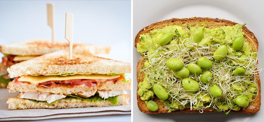 15 alimentos que consumimos a diario junto a su versión Hipster sandwich