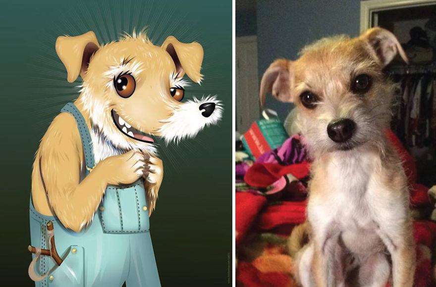 Artista crea divertidos retratos de mascotas según cómo sus dueños las describan 04