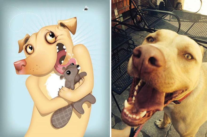 Artista crea divertidos retratos de mascotas según cómo sus dueños las describan 05