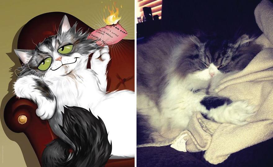 Artista crea divertidos retratos de mascotas según cómo sus dueños las describan 09