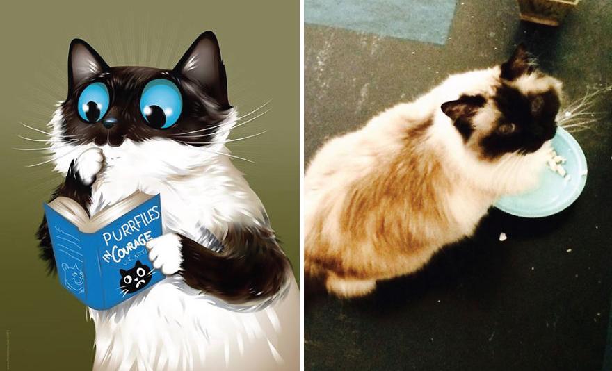 Artista crea divertidos retratos de mascotas según cómo sus dueños las describan 11