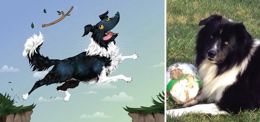Artista crea divertidos retratos de mascotas según cómo sus dueños las describan 16