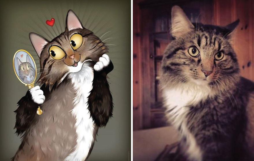 Artista crea divertidos retratos de mascotas según cómo sus dueños las describan 17
