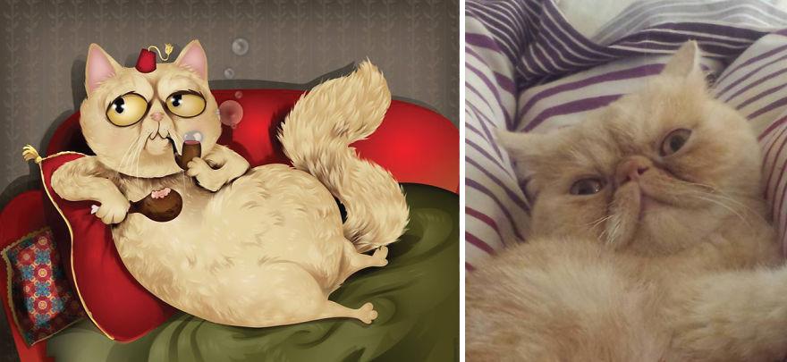 Artista crea divertidos retratos de mascotas según cómo sus dueños las describan 18