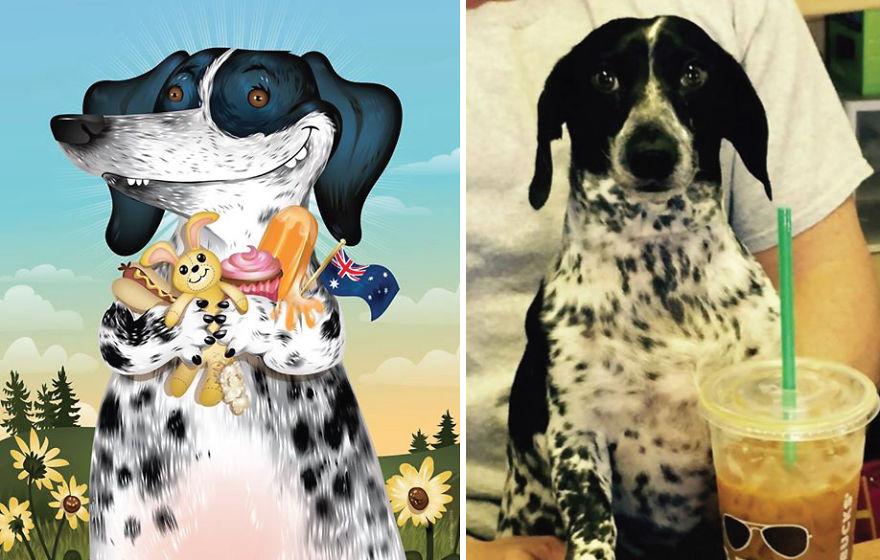 Artista crea divertidos retratos de mascotas según cómo sus dueños las describan 19