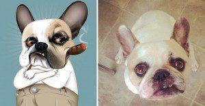 Artista crea divertidos retratos de mascotas según cómo sus dueños las describan