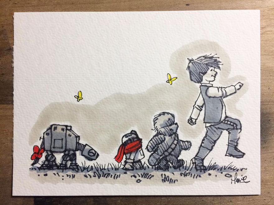 Artista reinterpreta personajes de Star Wars con los Winnie The Pooh 13