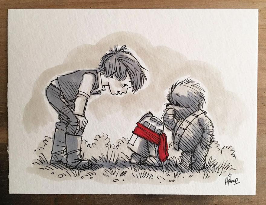 Artista reinterpreta personajes de Star Wars con los Winnie The Pooh