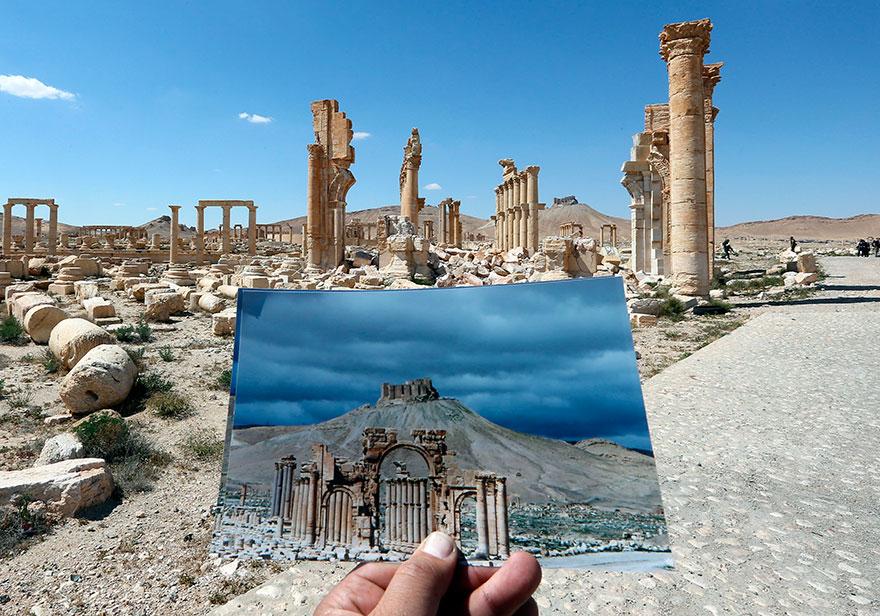 El antes y el después de importantes monumentos de Siria destruidos por ISIS arco del triunfo