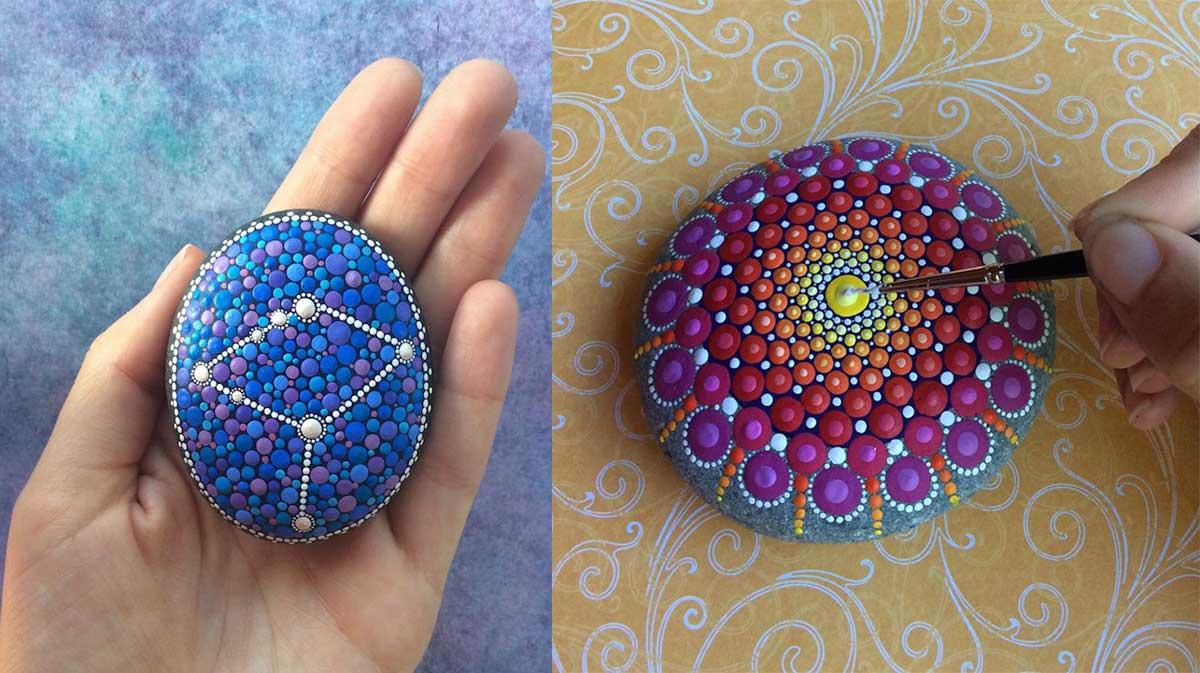 Hipnotizantes y coloridas mandalas hechas en rocas 3