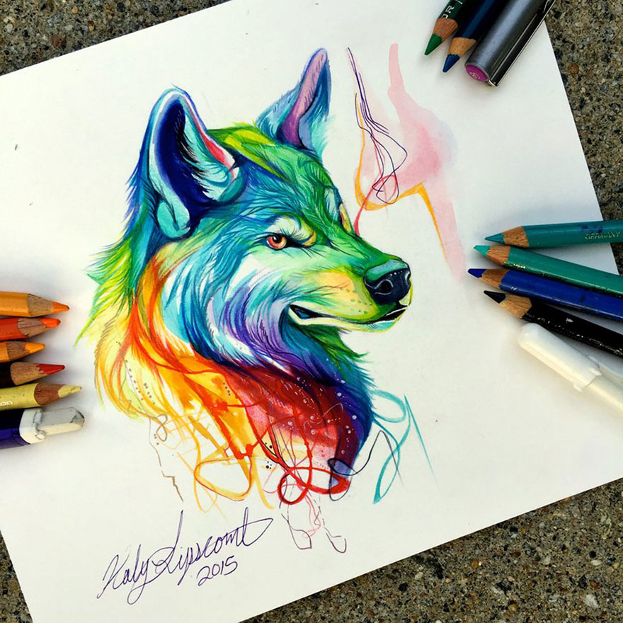 Las artísticas ilustraciones de animales hechas con plumones y colores 1