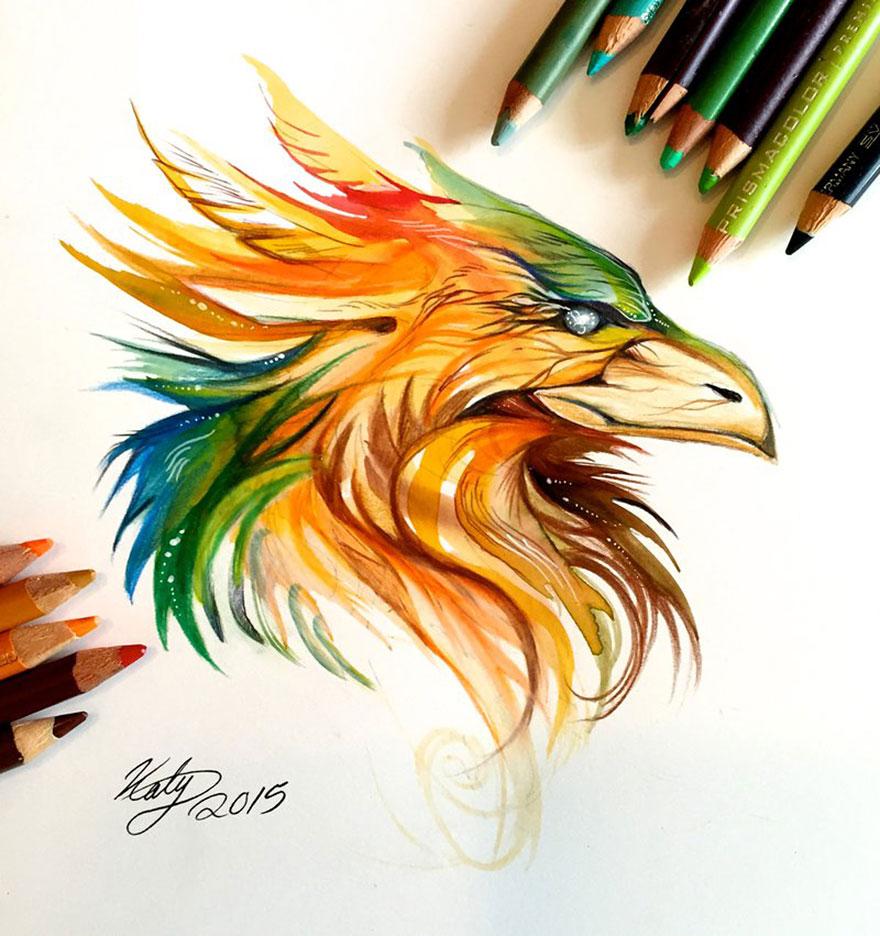 Las artísticas ilustraciones de animales hechas con plumones y colores 10