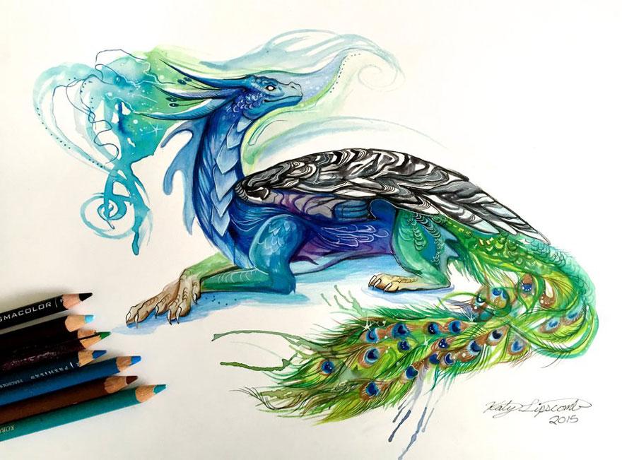 Las artísticas ilustraciones de animales hechas con plumones y colores 11