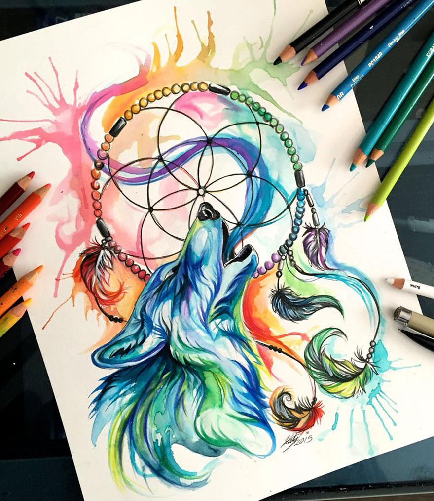 Las artísticas ilustraciones de animales hechas con plumones y colores 12