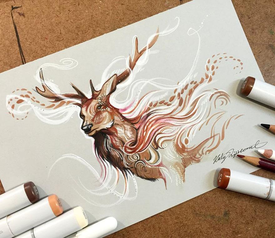 Las artísticas ilustraciones de animales hechas con plumones y colores 2