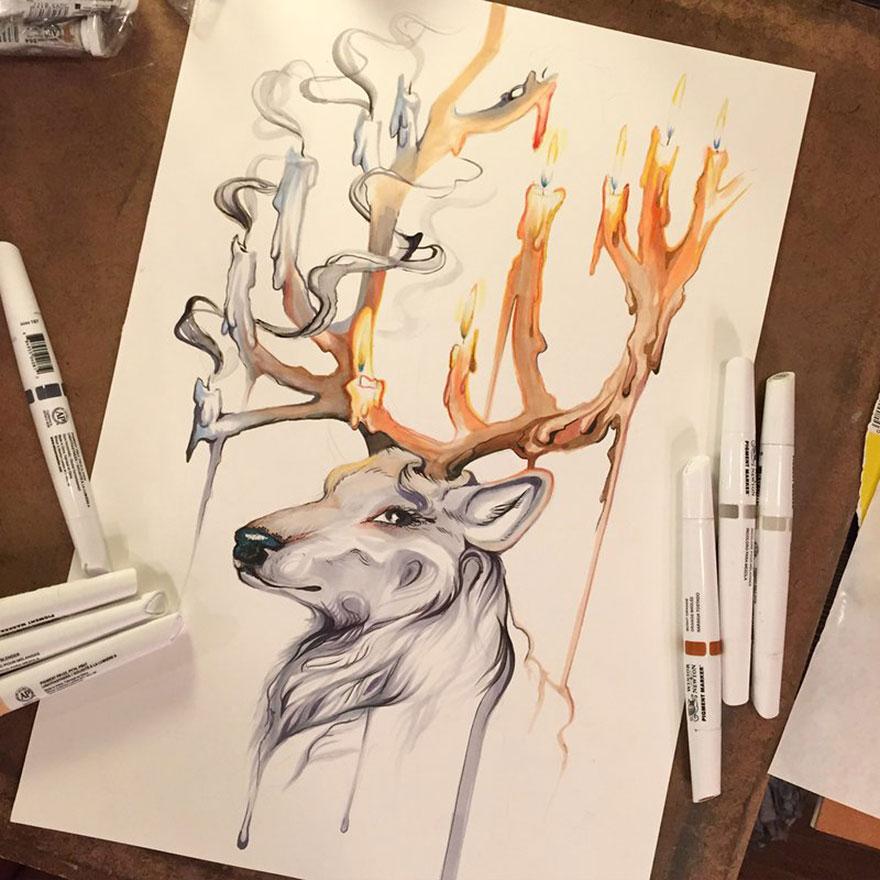 Las artísticas ilustraciones de animales hechas con plumones y colores 3
