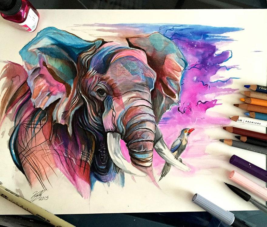 Las artísticas ilustraciones de animales hechas con plumones y colores 4