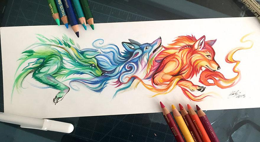Las artísticas ilustraciones de animales hechas con plumones y colores 5
