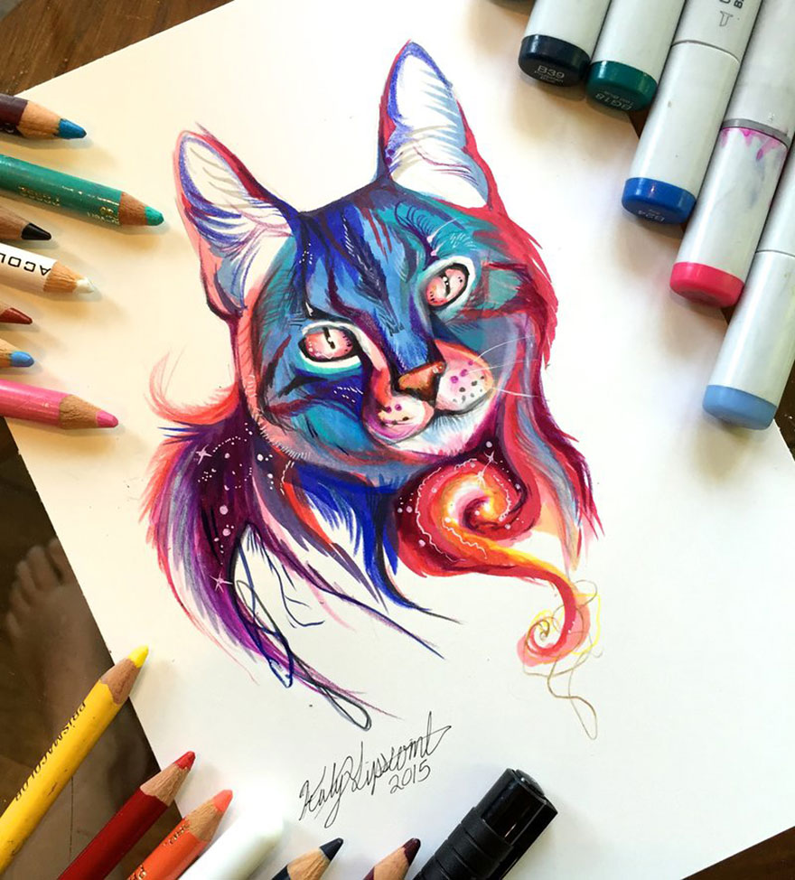 Las artísticas ilustraciones de animales hechas con plumones y colores 6