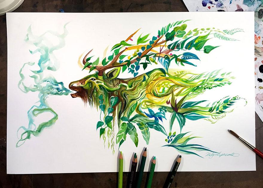 Las artísticas ilustraciones de animales hechas con plumones y colores 7