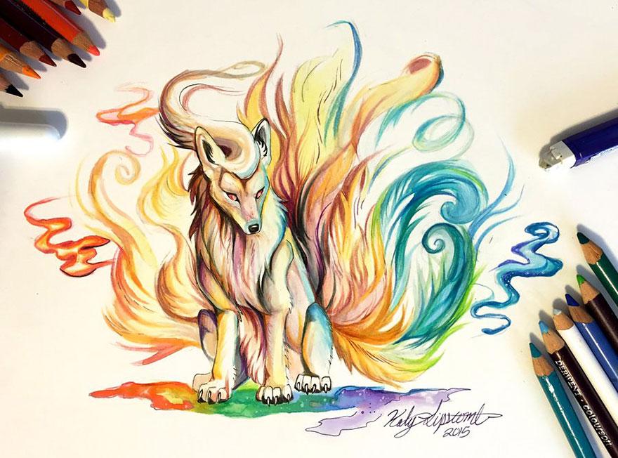 Las artísticas ilustraciones de animales hechas con plumones y colores 9