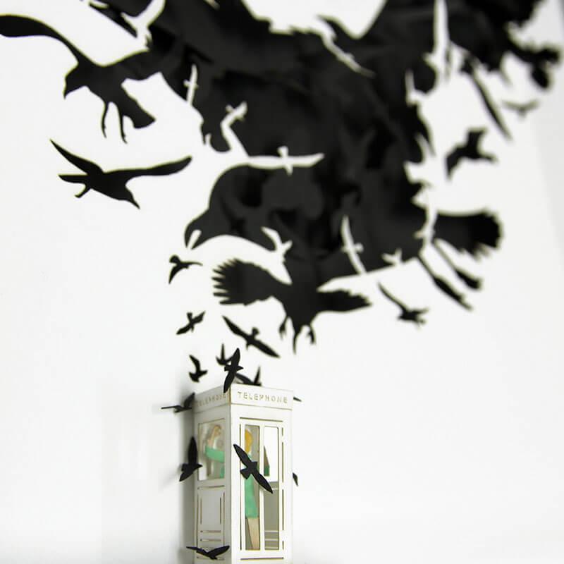 Maquetas hechas de papel recrean icónicas escenas de películas 3