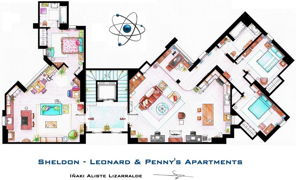 Conoce los planos de estas conocidas casas del cine y la televisión big bang 1