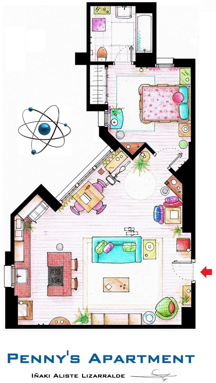 Conoce los planos de estas conocidas casas del cine y la televisión big bang 2