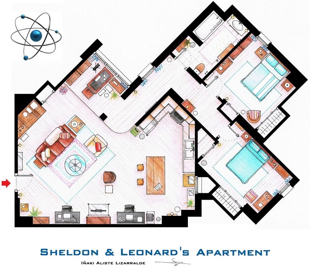 Conoce los planos de estas conocidas casas del cine y la televisión big bang 3